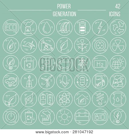 Big Vector Set Of 42 Modern Thin Line Icons. Power Generation And Accumulation. Green Energy Icons C