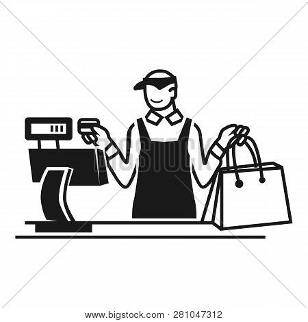 Seller At The Cash Register Icon. Simple Illustration Of Seller At The Cash Register Vector Icon For