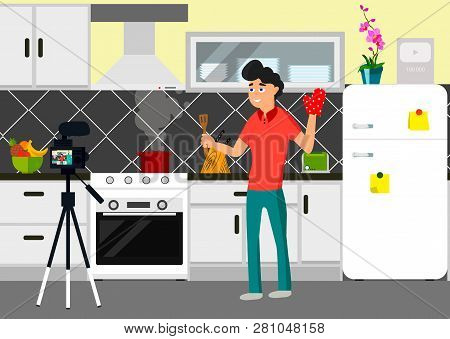 Video Blogger Infront Of Came In Kitchen. Vector Flat Style Illustration Of Happy Chief Blogger Man