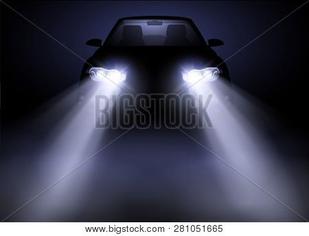 Bright And Modern Auto Generic Car Headlights Shining Through Fog At Night. Vector Illustration.