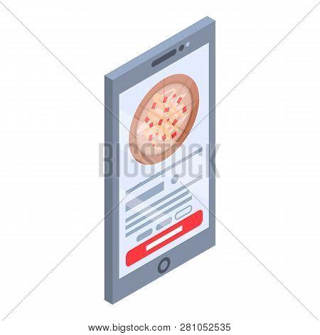 Smartphone Pizza Online Buy Icon. Isometric Of Smartphone Pizza Online Buy Vector Icon For Web Desig