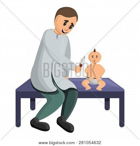 Pediatrician Examine A Baby Icon. Cartoon Of Pediatrician Examine A Baby Vector Icon For Web Design