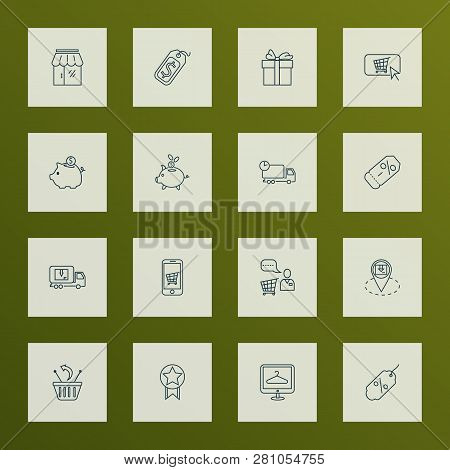 Ecommerce Icons Line Style Set With Quality, Coupon, Mobile Shop And Other Online Shopping Elements.