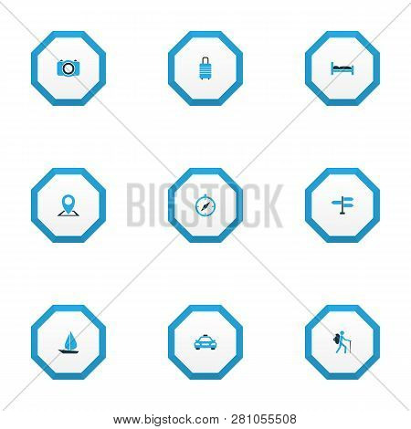 Journey Icons Colored Set With Cab, Direction, Camera And Other Map Pin Elements. Isolated Vector Il