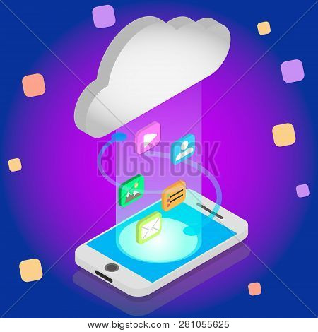 Isometric Cloud Storage Concept. Synchronization Backend Cloud Data Storage With Smartphone On. Data