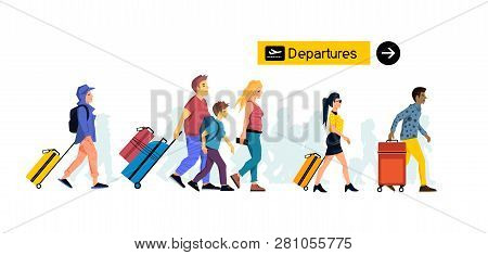 Groups Of People Friends And Family Members Travelling Through An Airport Terminal With Suitcases An