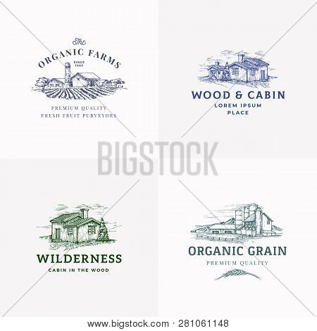 Farms And Cabins Abstract Vector Signs, Symbols Or Logo Templates Set. Hand Drawn Landscapes With Bu