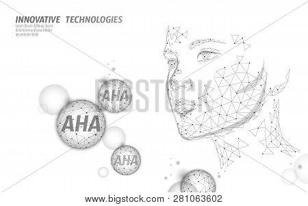 Fruit Acid Beauty Salon Peeling. Female Face Aha Glycolic Lactic Acids Exfoliant Anti-aging Rejuvena