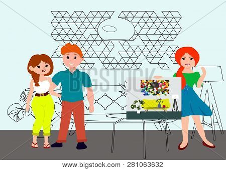Architecture And Interior Design Concept With Women Designer Architect And Young Couple. Interior De