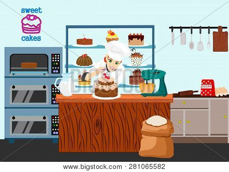 Confectioner Girl Cook Preparing Chocolate Cake With Cherry. Sweet Shop Cartoon Composition With Smi