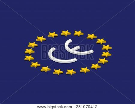 Vector Ce Mark, Vector Ce Symbol On Flag Europe. Isometric Design
