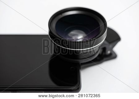 Macro Lens Is Attached To The Smartphone Camera.