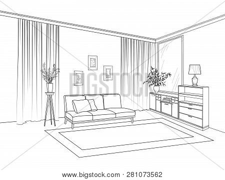Home Living Room Interior. Outline Sketch Of Furniture With Sofa, Shelving, Table. Living Room Drawi