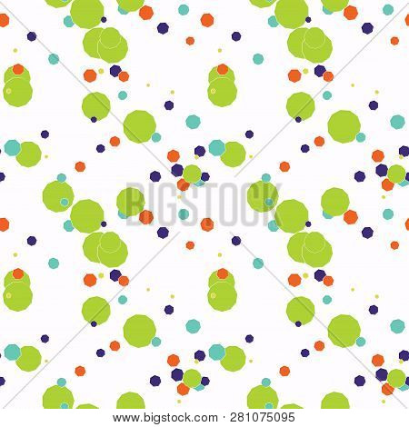 Seamless Pattern With Green, Violet, Orange, Blue Messy Different Geometric Shapes: Polygon, Hexagon