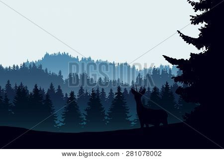 Realistic Illustration Of Mountain Landscape With Coniferous Forest And Deer. Under The Morning Blue