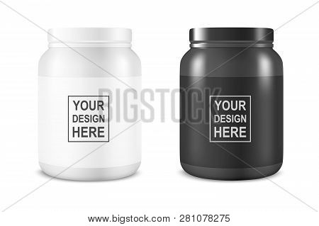 Vector Realistic White And Black Plastic Jar, Can With Lid Set Closeup Isolated On White Background.