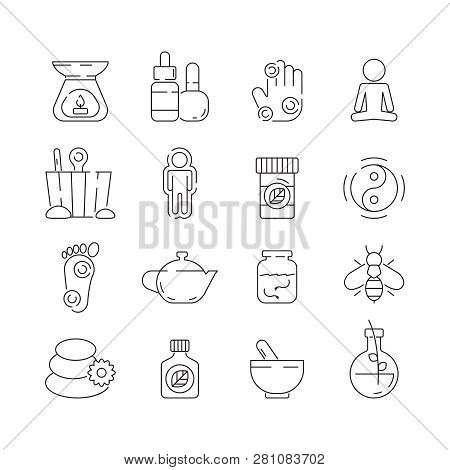 Alternative Medicine Icon. Beauty Complementary Naturopath Herbal Therapy Relaxation Meditation Vect