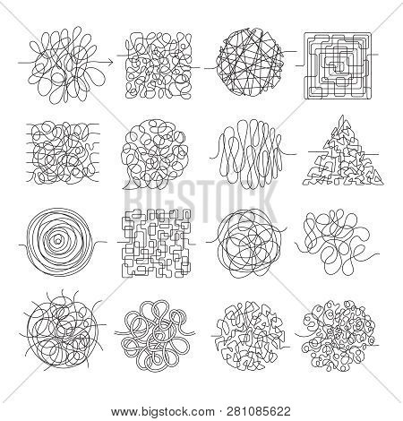 Scribble Lines. Wire Mess Chaos Threading Vector Shapes Isolated. Wire Knot Chaotic, Chaos Scratch I