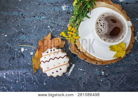 Hot Coffee Cup. Strong Coffee On Wooden Table Background. Fresh Coffee. Latte Coffee. Morning Coffee
