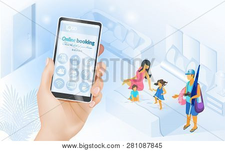 Booking Hotel Online Isometric Vector Concept With Family Resting In Comfortable Hotel Room And Mobi