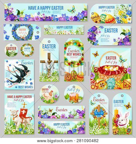 Easter Tag And Label Set For Religion Holiday Design. Easter Egg Hunt Basket, Rabbit Bunny And Cross