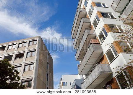 Swedish Multi-stories Residential Buildings Low Angel View.
