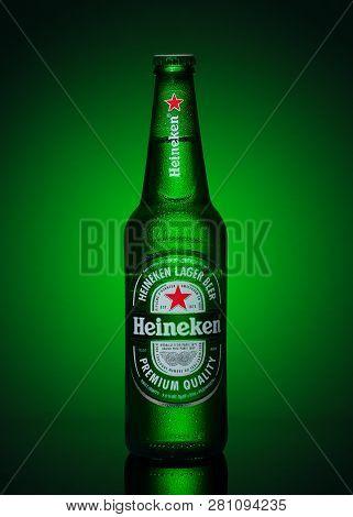 Ukraine, Kiev - January 28th 2019: Heineken Beer On Green Background. Illustrative Editorial.