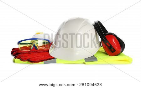 Protective workwear on white background. Safety equipment poster