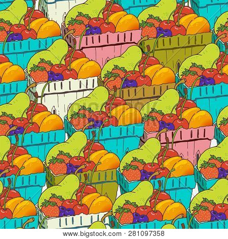 Seamless Pattern With Fruits And Berries In Disposable Blue Carton Boxes. Hand Drawn Vector Illustra