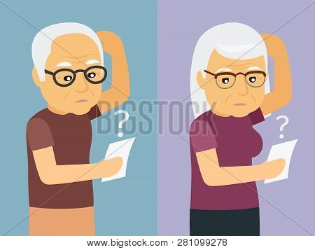 Old Man And Woman Thinking Vector Illustration. Woman And Man Thinking