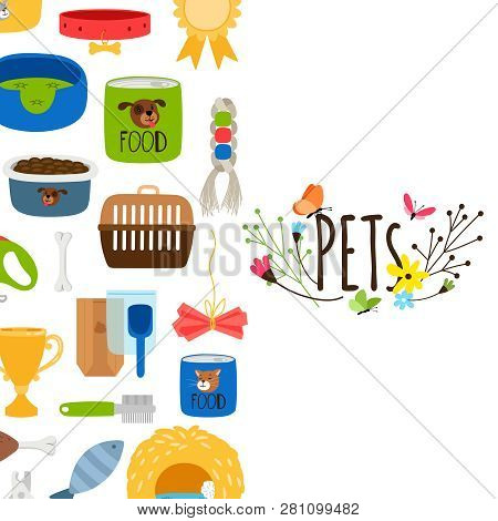 Vector Pets Background With Pet Shop Icons. Pet Comb, Feed And Leash Illustration