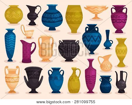 Set of colored antique vases. Vector illustration. Pottery ceramic, pot object crockery poster