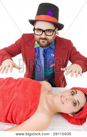 sexual harassment, woman at the spa with a crazy man behind, focus on the man