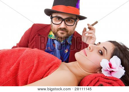 sexual harassment, woman at the spa with a crazy man behind, focus on the woman