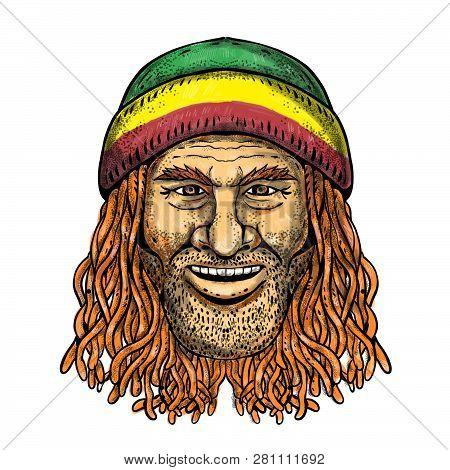 Tattoo Style Illustration Of A Rastafarian Dude, Rastafari Or Guy Practising Rastafarianism, An Abra