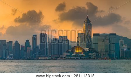 Victoria Harbour, Hong Kong - December 11, 2016: Sunrise View At A Famous Tourist Attraction