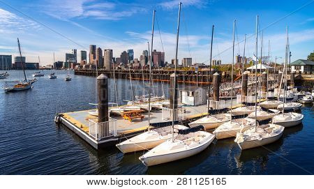 Harbor And Boat Spart In Boston City, Massachusetts, Usa, United States Of America