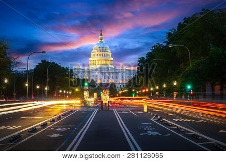 Capital Building In Washington Dc City At Night Wiht Street And Cityscape, Usa, United States Of Ama