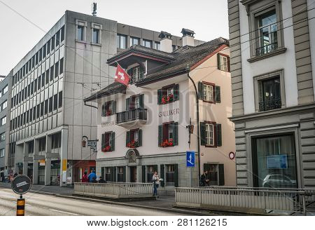 Lucerne, Switzerland - Oct 23, 2018. Historic City Center Of Lucerne, Switzerland. Lucerne (luzern)