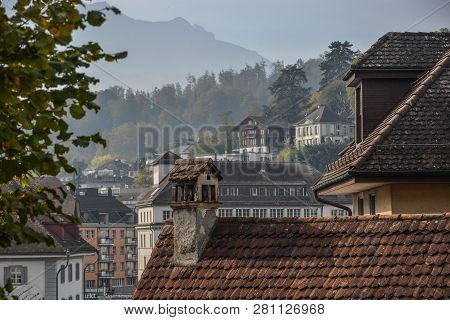 Historic City Center Of Lucerne, Switzerland. Lucerne (luzern) Is A Beautiful Small City In The Hear