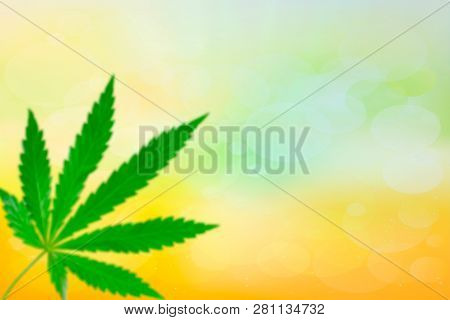 Diffuse Cannabis Leaf, Marijuana Over Spring Or Summer Background With Copy Space. Legalize Drug Con