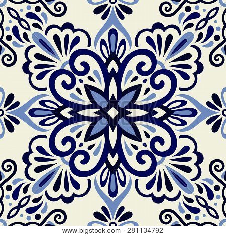 Ethnic Style Seamless Pattern. Azulejo Ceramic Tile Design. Zellige Ornament. Talavera Tracery Motif