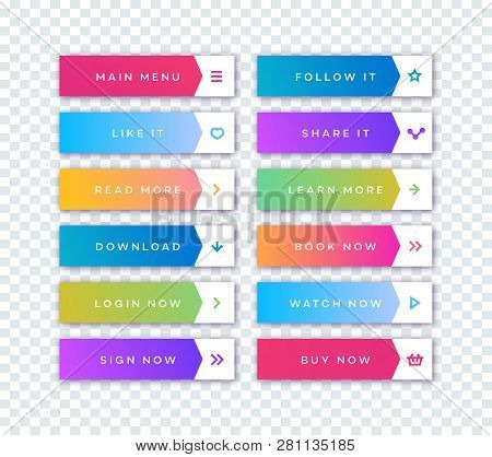 Vector Button Set Modern Gradient Style With Shadow Isolated On Transparent Background For Web Site,