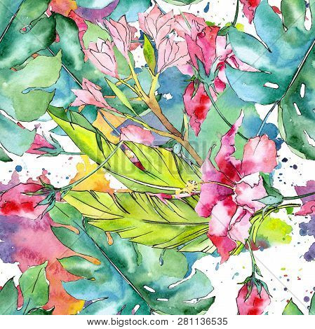 Pink Exotic Tropical Hawaiian Floral Flower. Watercolor Illustration Set. Seamless Background Patter