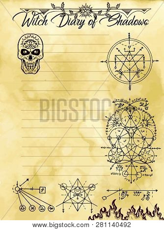 Witch Diary Page 16 Of 31 With Occult Sacred Geometry Symbols, Evil Seals And Weird Skull. Magic Wic