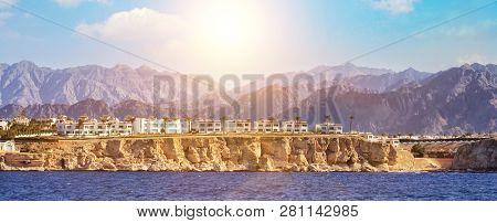 Red Sea Coastline In Sharm El Sheikh, Egypt, Sinai. Panoramic View