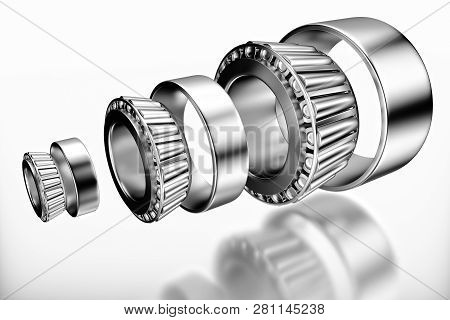3D rendering. Automotive bearings auto spare parts. Tapered roller bearing isolated on a white background. Wheel bearing for truck, heavy duty and car. poster