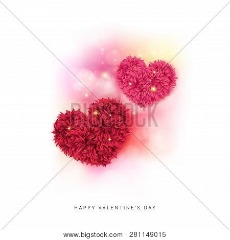 Sentimental Valentine Card Design With Colorful Pink And Red Hearts.