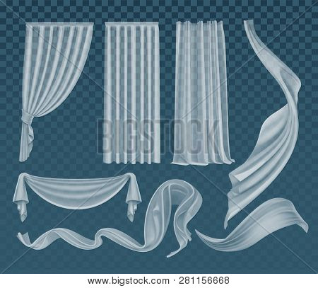 Vector Set Of Fluttering Translucent White Cloths, Soft Lightweight Clear Material And Curtains Isol