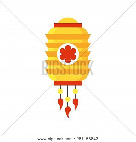 Colorful Flat Paper Street Chinese Lantern. Holiday Decorative Design Element. China Festive Decor